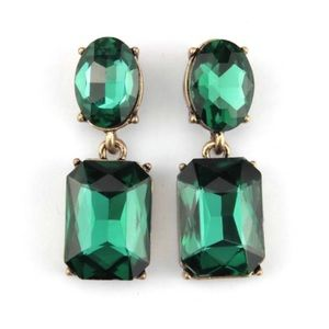Kate Spade Green & Gold Crystal Drop Earrings